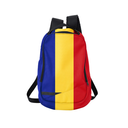 rumanian: Romania flag backpack isolated on white background. Back to school concept. Education and study abroad. Travel and tourism in Romania