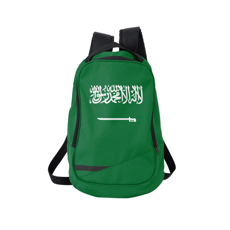 Saudi Arabia flag backpack isolated on white background. Back to school concept. Education and study abroad. Travel and tourism in Saudi Arabia Reklamní fotografie