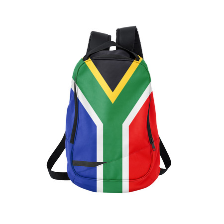South Africa flag backpack isolated on white background. Back to school concept. Education and study abroad. Travel and tourism in South Africa Reklamní fotografie