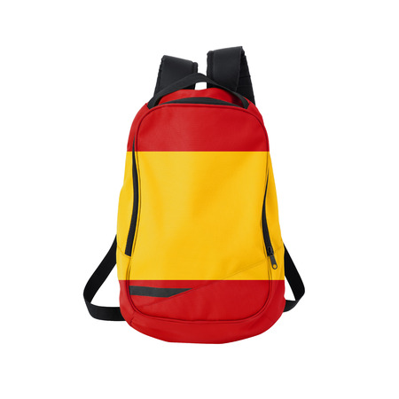 Spain flag backpack isolated on white background. Back to school concept. Education and study abroad. Travel and tourism in Spain Reklamní fotografie
