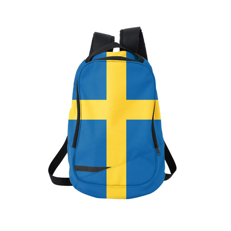 education in sweden: Sweden flag backpack isolated on white background. Back to school concept. Education and study abroad. Travel and tourism in Sweden