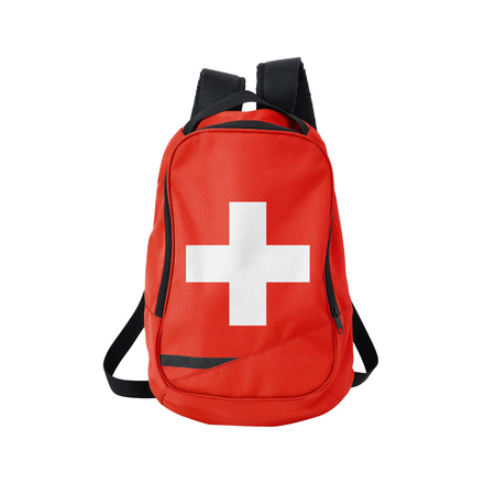 Switzerland flag backpack isolated on white background. Back to school concept. Education and study abroad. Travel and tourism in Switzerland