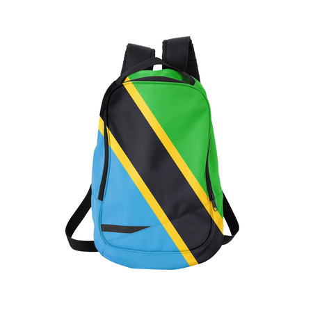 Tanzania flag backpack isolated on white background. Back to school concept. Education and study abroad. Travel and tourism in Tanzania Reklamní fotografie