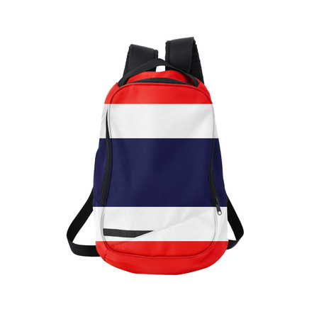 Thailand flag backpack isolated on white background. Back to school concept. Education and study abroad. Travel and tourism in Thailand