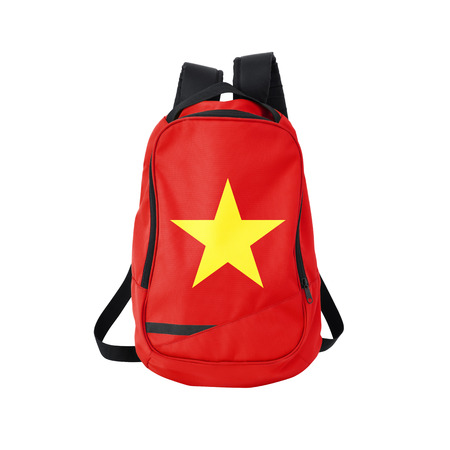 Vietnam flag backpack isolated on white background. Back to school concept. Education and study abroad. Travel and tourism in Vietnam