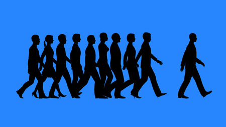 Leader heading the team. Lead by example concept. Stock Photo