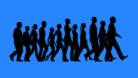 Group of people walking silhouettes isolated on blue background. Team work concept.