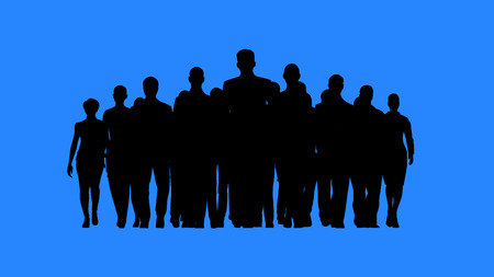 building silhouette: Leader heading the team. Lead by example concept. Stock Photo