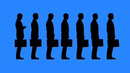 formalism: Bureaucracy concept. Queue of people waiting.