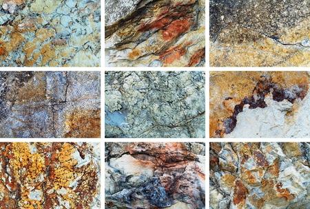 antique wallpaper: Rock texture background set. Natural rock patterns