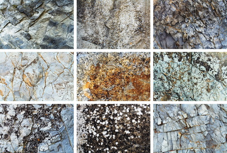 Rock texture background set. Natural rock patterns