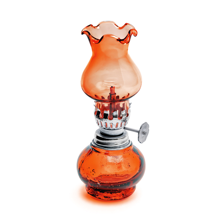 Oil lamp wick lantern made of red glass and metal isolated on white background