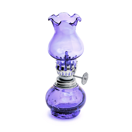 Oil lamp wick lantern made of purple glass and metal isolated on white background Reklamní fotografie