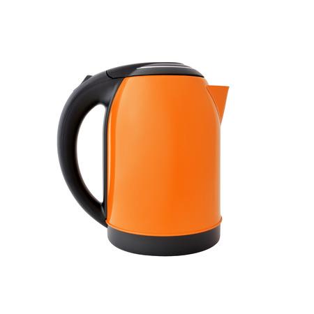 Orange kettle isolated on white background