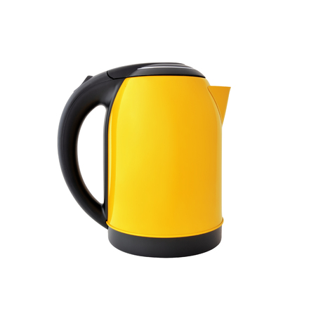 Yellow kettle isolated on white background