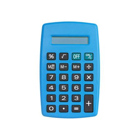 Blue calculator isolated on white background with clipping path Reklamní fotografie