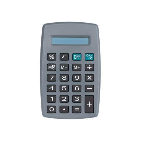 Gray calculator isolated on white background with clipping path