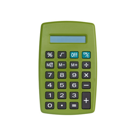 Khaki calculator isolated on white background with clipping path