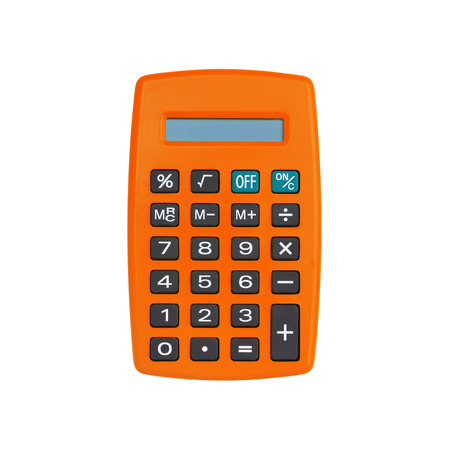 Orange calculator isolated on white background with clipping path Reklamní fotografie
