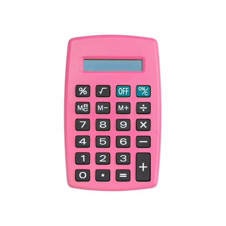 Pink calculator isolated on white background with clipping path