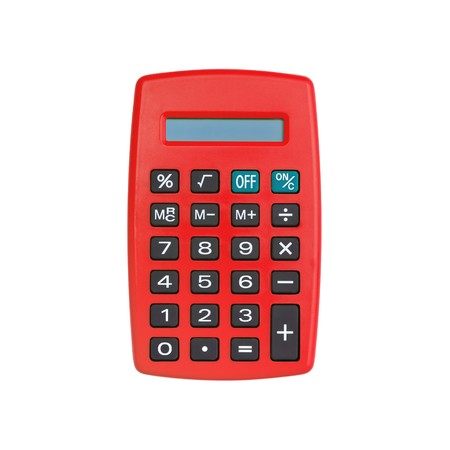 Red calculator isolated on white background with clipping path