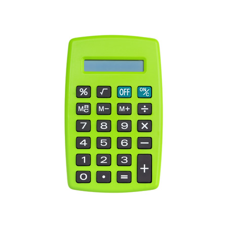 Green calculator isolated on white background with clipping path
