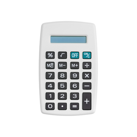 White calculator isolated on white background with clipping path