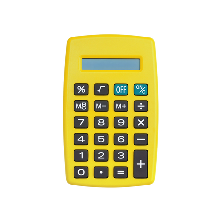 Yellow calculator isolated on white background with clipping path