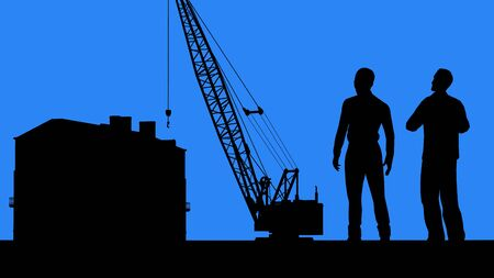 Construction business partnership. Client and contractor. Real estate agent and buyer. Silhouettes of two men standing in front of the apartment building under construction and discussing details of the deal.