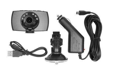 Dashboard camera DVR video recorder set isolated on white background Reklamní fotografie