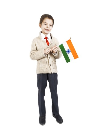 A little boy with flag of India on the white background