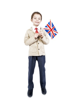 A little boy with flag of Great Britain