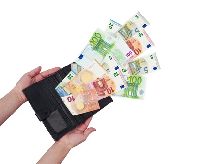 Wallet with money isolated image. Money fly away.