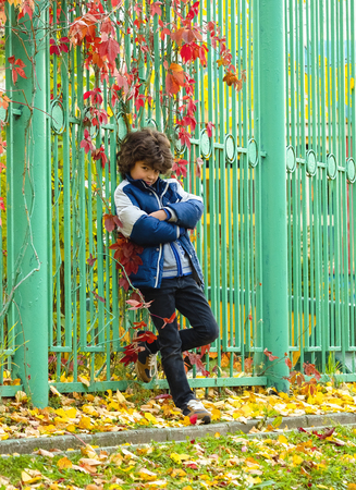 Fashionable little boy posing near green iron fence in autumn cold day.