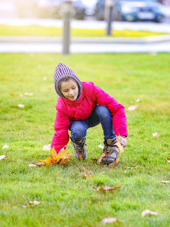 happy little child, sweet girl smiling and collecting yellow leaves in the autumn city park walk outdoors