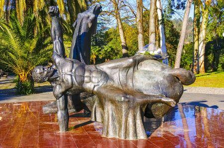 Sukhum, Abkhazia, - 03 January, 2013: Monument to Muhajirs. Monument to the mahajirs in honor of the heroes of the Patriotic War of Abkhazia 1992-1993