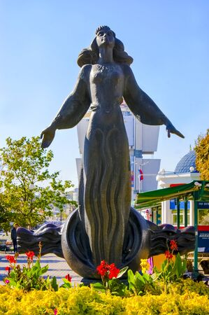 Rostov-on-Don,Russia - October 14,2012: Rostovite girl fountain in Rostov-on-Don, Russian Federation