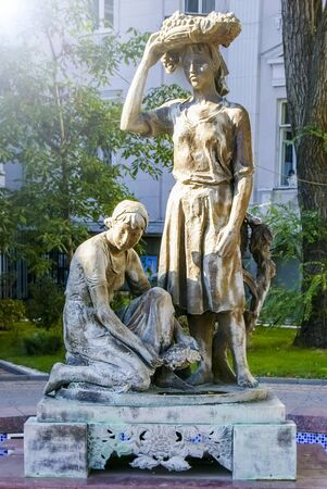 Rostov-on-Don,Russia - October 14,2012: Girls with grapes. Monument women winegrowers. Sculpture of 2 women with grapes in Rostov on Don