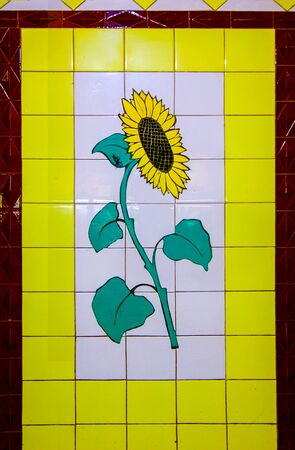 Rostov-on-Don,Russia - October 14,2012: Sunflower. Rostov - painting by transitions. In the former USSR, mosaic was widely used to decorate cities.
