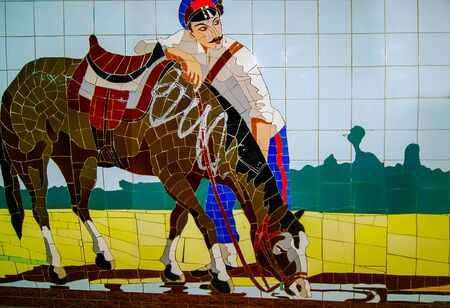 Rostov-on-Don,Russia - October 14,2012: Cossack with a horse.Rostov - painting by transitions. In the former USSR, mosaic was widely used to decorate cities.