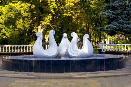 Rostov-on-Don,Russia - October 14,2012: Lira fountain on Pushkinskaya street in Rostov-on-Don. Редакционное