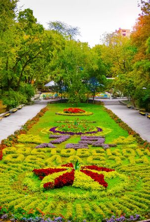 Rostov-on-Don,Russia - October 14,2012: Flower garden in the Gorky Park. Flower beds with sculptures in Gorky Park in a
