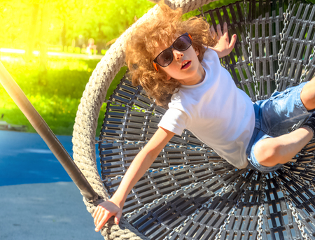 Cheerful boy swinging in the swing-nest. Entertainment for preschoolers outdoors Reklamní fotografie - 124627668