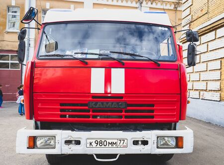 MOSCOW, RUSSIA - AUGUST 07, 2019: Fire truck on the duty. Modern fire truck. Fire truck on the street. Close-up view of Rescue vehicle. Rescue Emergency service vehicle