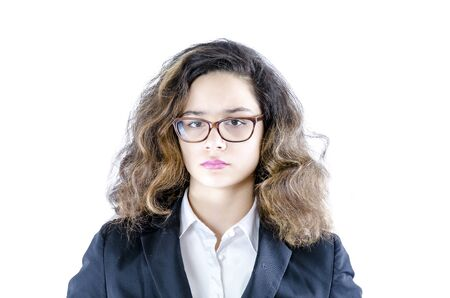 Portrait of young woman brunettes wearing glasses isolated on white background