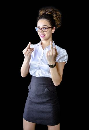 Joyful business lady giving middle finger to you. White woman showing offensive, rude, vulgar middle finger hand gesture