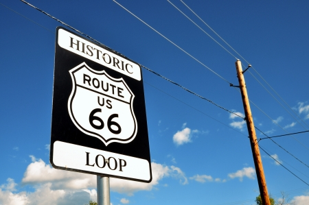 Historic Route 66 sign on the road photo