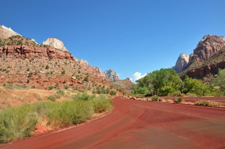 Red road in Zion National Park photo