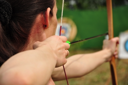 Young women training with the bow photo
