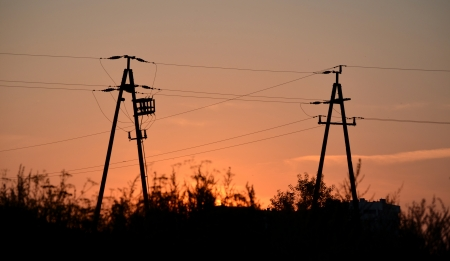 insulators: Support of power transmission line Stock Photo